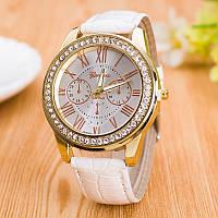 Часы женские GENEVA ЖЕНЕВА со стразами Питон Белые 138-1, наручные часы, женские часы, мужские часы