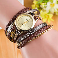 Часы на длинном ремешке наматываются на руку Шоколад 067-03, наручные часы, женские часы, мужские часы