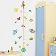 """Декоративная наклейка-ростомер на стену в детскую комнату """"Планеты. Космос"""""""