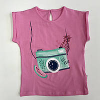 Футболка для девочки р.68 (6 месяцев) розовая с принтом