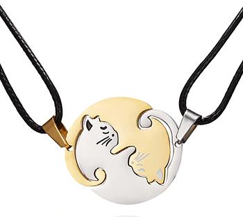 Парная подвеска Primo для двоих с кулоном Коты Инь-Янь - Silver/Gold