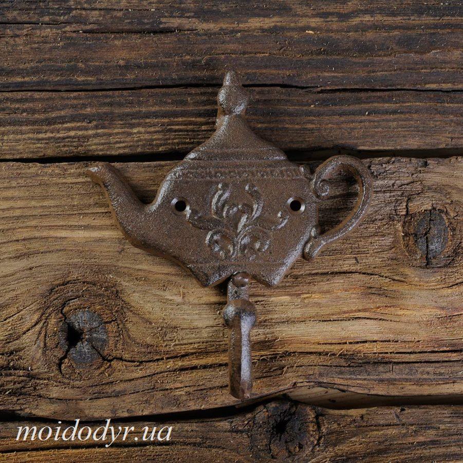 """Крючок """"Чайник""""- декоративная вешалка из чугуна 110 х 120 х 20 мм"""