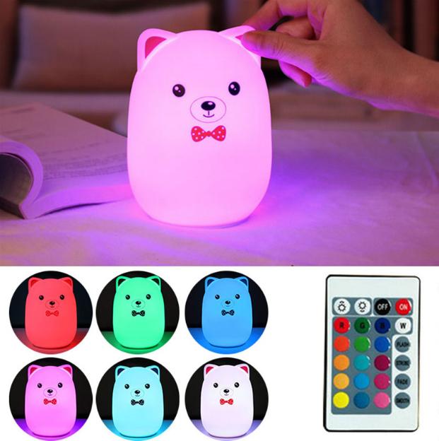 Силиконовый ночник 3DTOYSLAMP Мишка с розовыми ушками 16 ветов Пульт ДУ