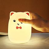 Силиконовый ночник 3DTOYSLAMP Мишка с розовыми ушками 16 ветов Пульт ДУ, фото 3