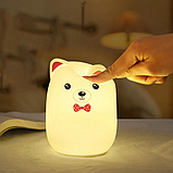 Силиконовый ночник 3DTOYSLAMP Мишка с розовыми ушками 16 ветов Пульт ДУ, фото 4
