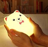 Силиконовый ночник 3DTOYSLAMP Мишка с розовыми ушками 16 ветов Пульт ДУ, фото 5