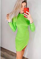 Женское платье до середины бедра в салатовом цвете