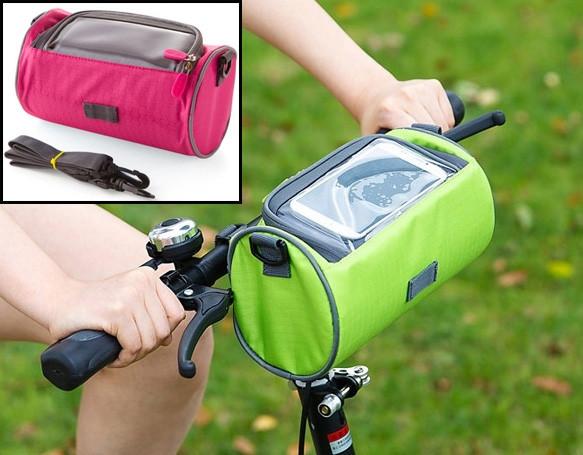 Сумка для путешествий, Велосумка на руль под смартфон (Розовая), Органайзеры, косметички, кофры