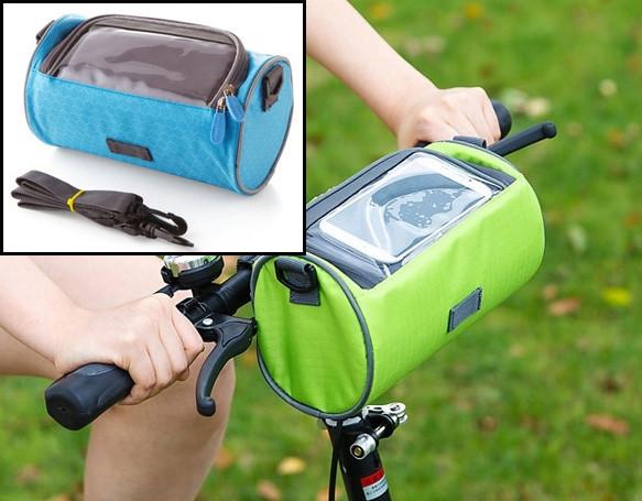 Сумка для путешествий, Велосумка на руль под смартфон (Голубая), Органайзеры, косметички, кофры
