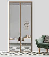 Антимоскитная сетка штора на дверь на магнитах Magic mesh без рисунка (218х110). Серая с каймой, товары для кухни, товары для дома