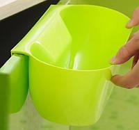 Ведро контейнер навесное на дверцу мебели для мелкого мусора (Салатовое), товары для кухни, товары для дома