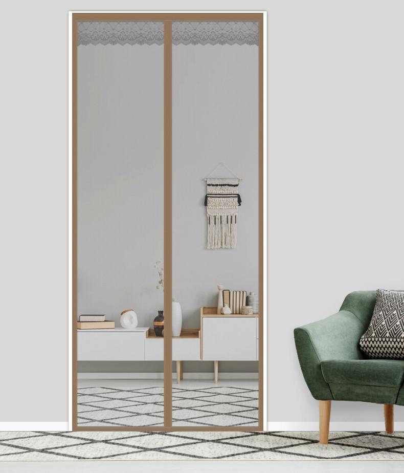 Антимоскитная сетка штора на дверь на магнитах Magic mesh без рисунка (210х90). Серая с каймой, товары для кухни, товары для дома