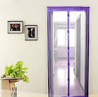 Антимоскитная сетка штора на дверь на магнитах Magic mesh без рисунка (210х90). Сиреневая, товары для кухни, товары для дома