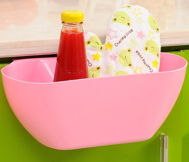 Ведро контейнер навесное на дверцу мебели для мелкого мусора (Розовое), товары для кухни, товары для дома