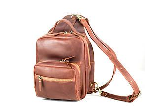 """Рюкзак жіночий міський шкіряний """"Cognac"""". Колір коричневий"""