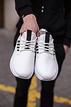 Мужские текстильные белые летние кроссовки сетка, фото 3