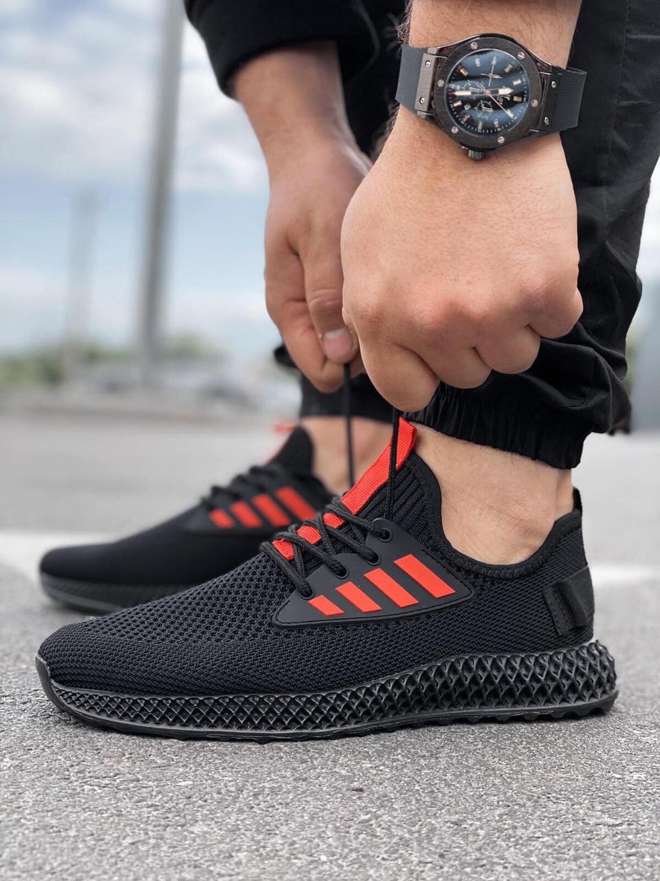 Мужские текстильные черные летние кроссовки сетка