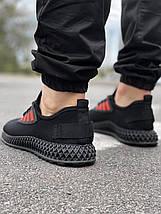 Мужские текстильные черные летние кроссовки сетка, фото 3