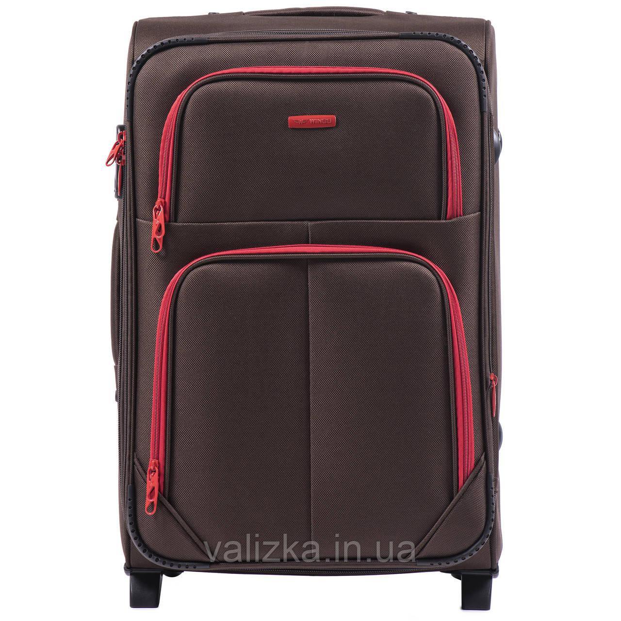 Средний текстильный чемодан кофейный с расширителем Wings 214