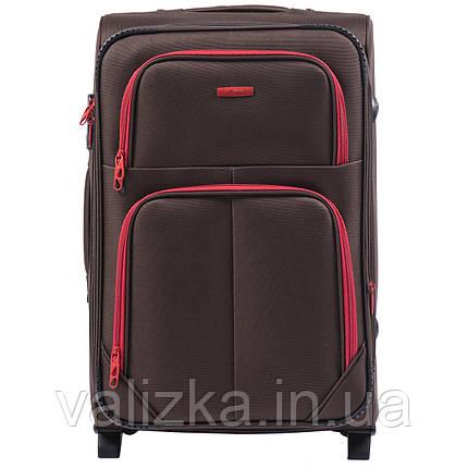 Средний текстильный чемодан кофейный с расширителем Wings 214, фото 2