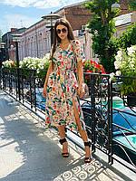 Платье летнее средней длины с разрезом