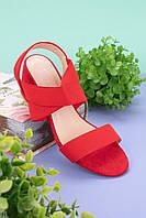 Босоножки женские красные на резинке каблук 6 см эко замша, фото 1