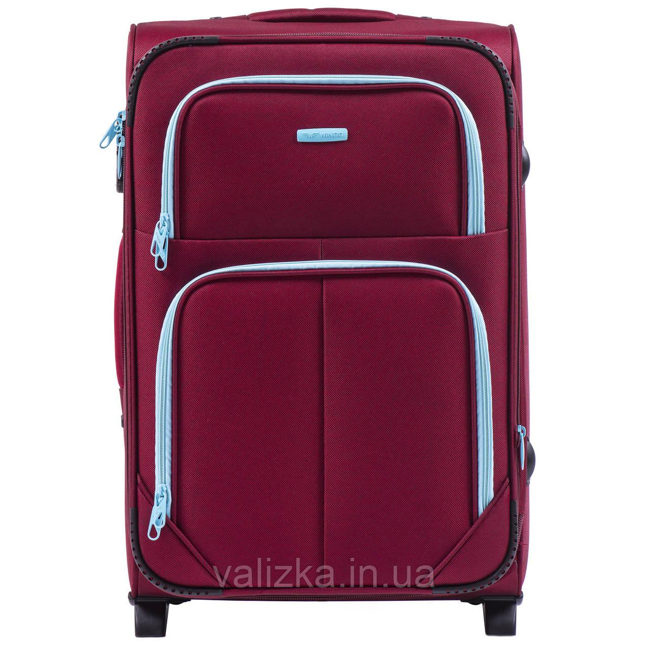 Средний текстильный чемодан красный с расширителем Wings 214