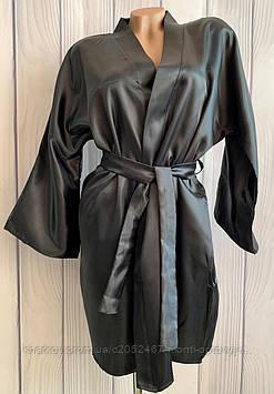 Однотонный  атласный женский халат с поясом на запах