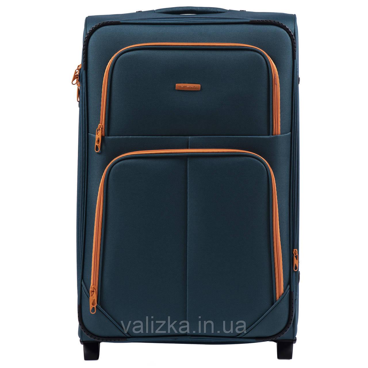 Большой текстильный чемодан темно-синий на 2-х колесах  Wings 214