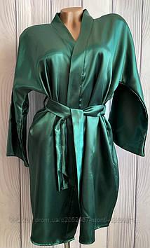 Однотонный  атласный женский халат размер 42-44