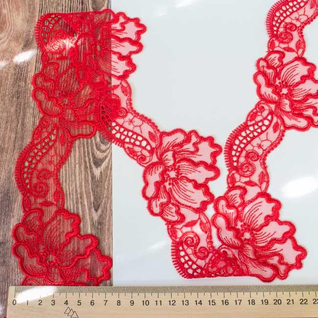 Кружево на сетке Маки красное 8 см