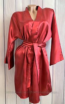Атласный женский халат с поясом на запах