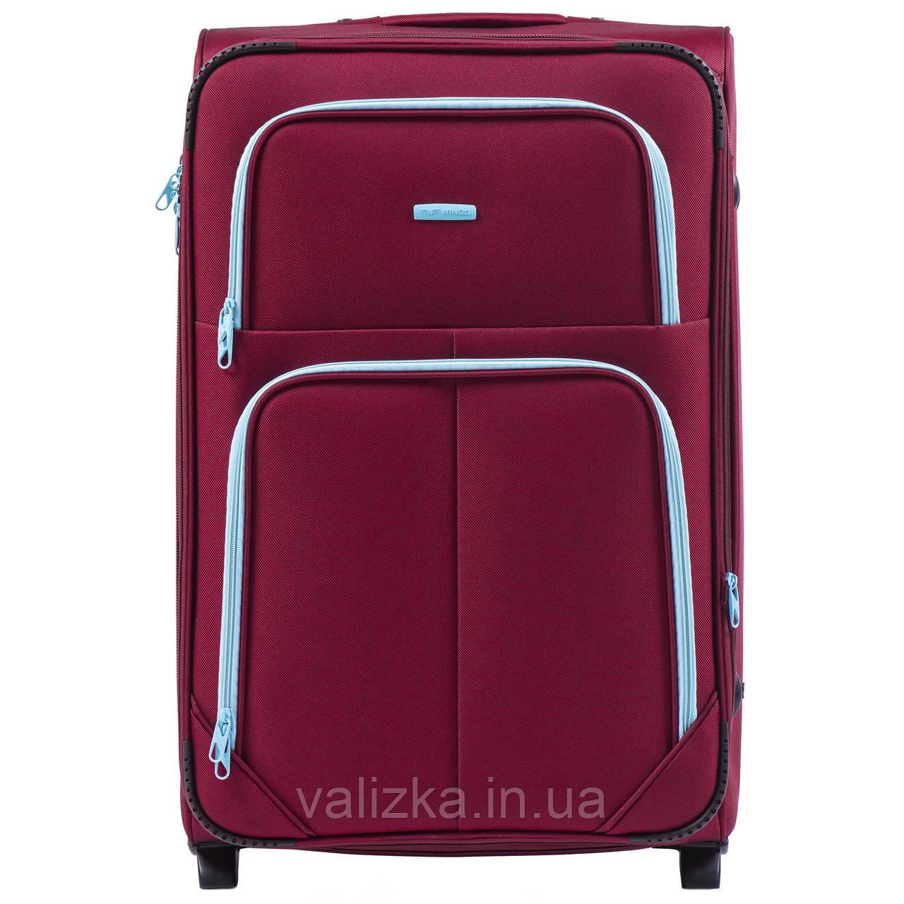 Большой текстильный чемодан красный на 2-х колесах  Wings 214