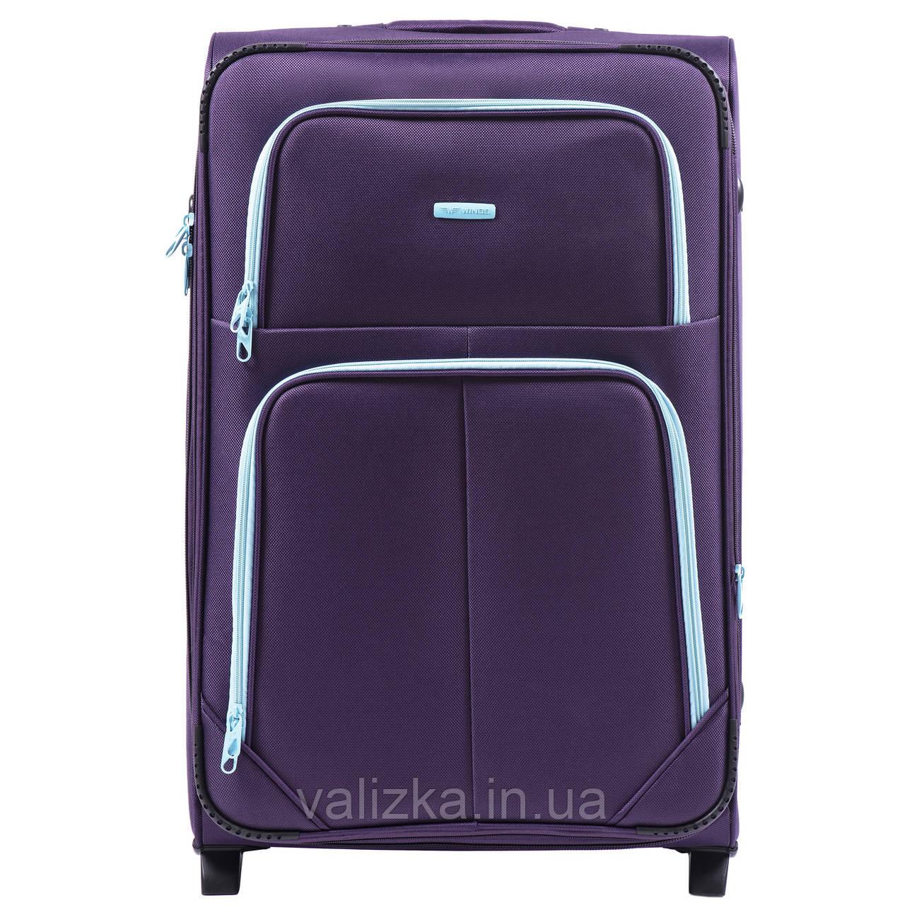 Большой текстильный чемодан фиолетовый на 2-х колесах  Wings 214
