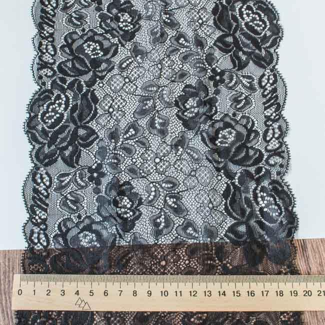 Кружево Розы черное 20 см