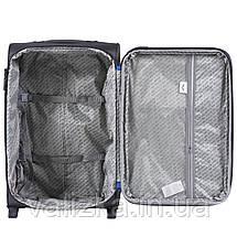 Комплект текстильных чемоданов на 2-х колесах Wings 214  с расширителем, темно-синего цвета, фото 3