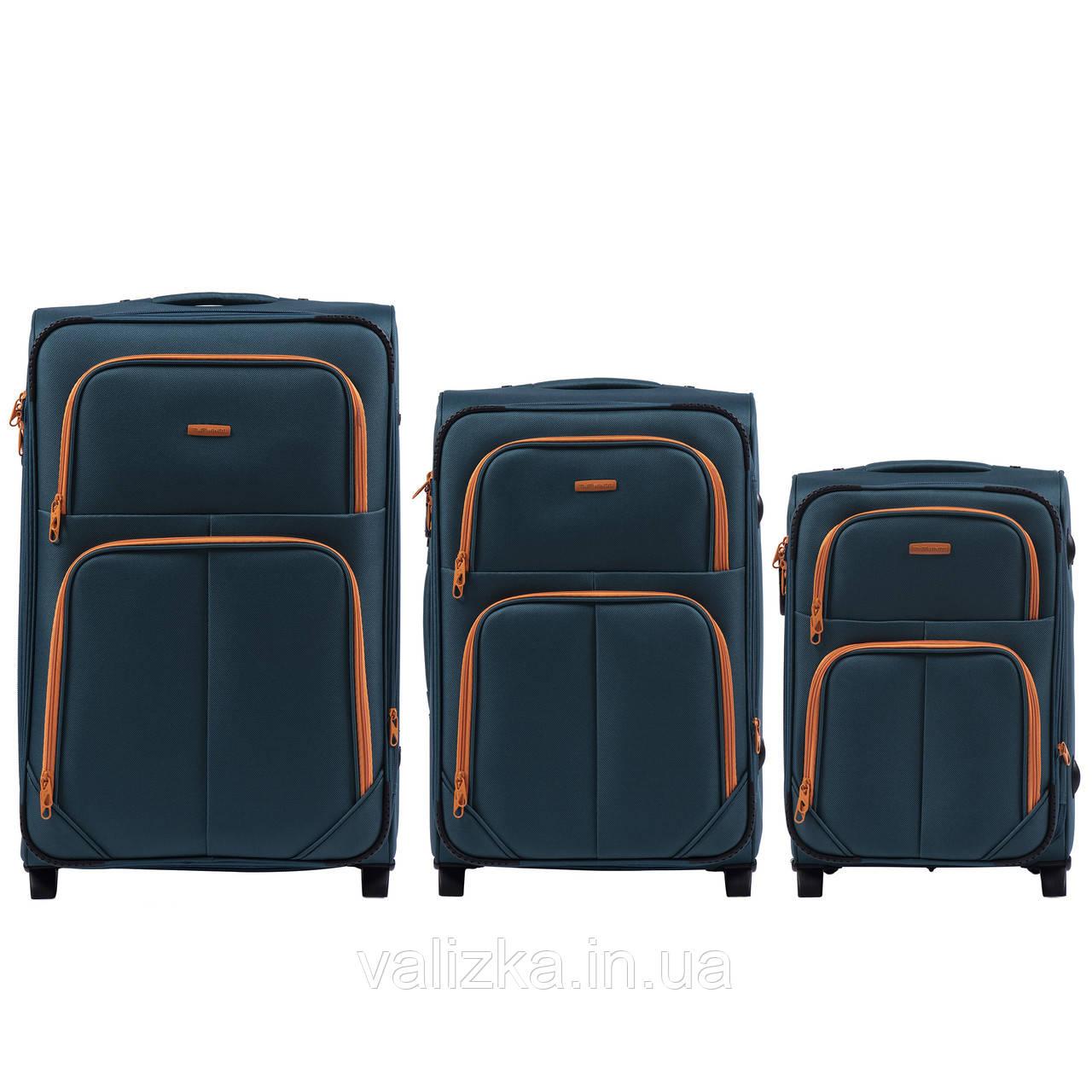 Комплект текстильных чемоданов на 2-х колесах Wings 214  с расширителем, темно-синего цвета