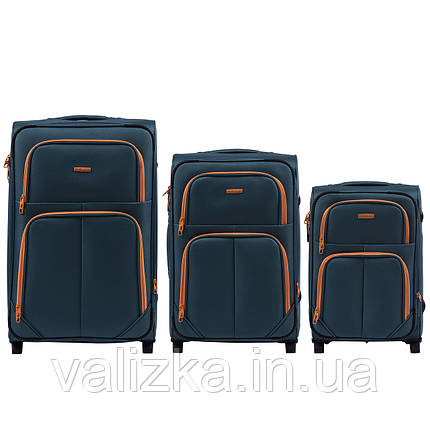 Комплект текстильных чемоданов на 2-х колесах Wings 214  с расширителем, темно-синего цвета, фото 2