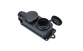 Розетка каучуковая двойная с заземлением и защитной крышкой OREL IP44 (Турция) TechnoSystems TNSy5502506