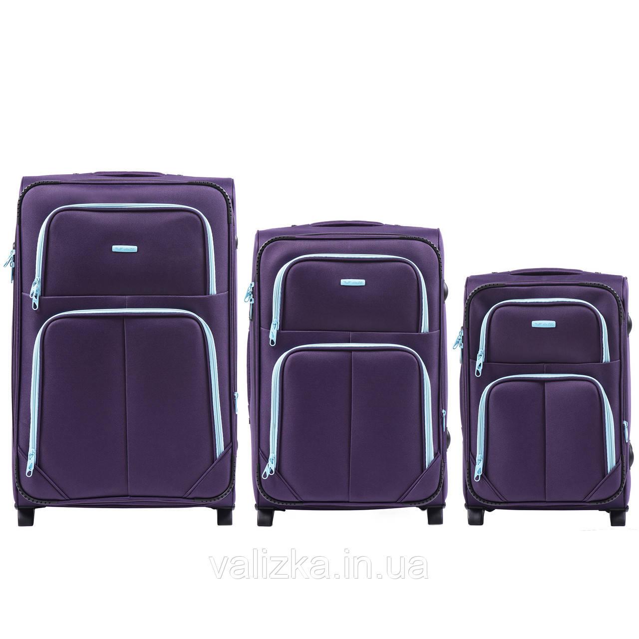 Комплект текстильных чемоданов на 2-х колесах Wings 214  с расширителем, фиолетового цвета