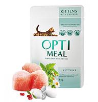 Влажный корм Optimeal (Оптимил) для котят со вкусом курицы 85 гр*12шт.