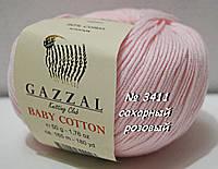 Пряжа для вязания хлопок/акрил BABY COTTON XL GAZZAL № 3411- сахарный розовый