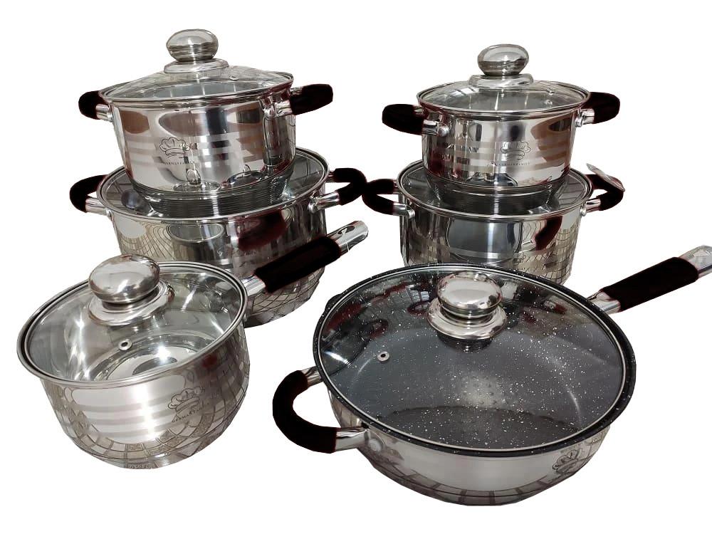 Набор посуды German Family GF-2023 черные силиконовые ручки 12 предметов