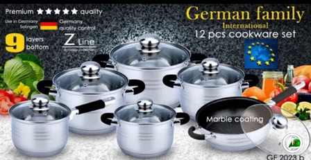 Набор посуды German Family GF-2023 черные силиконовые ручки 12 предметов, фото 2