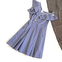 Платье летнее в полоску ассиметричный крой и рюши
