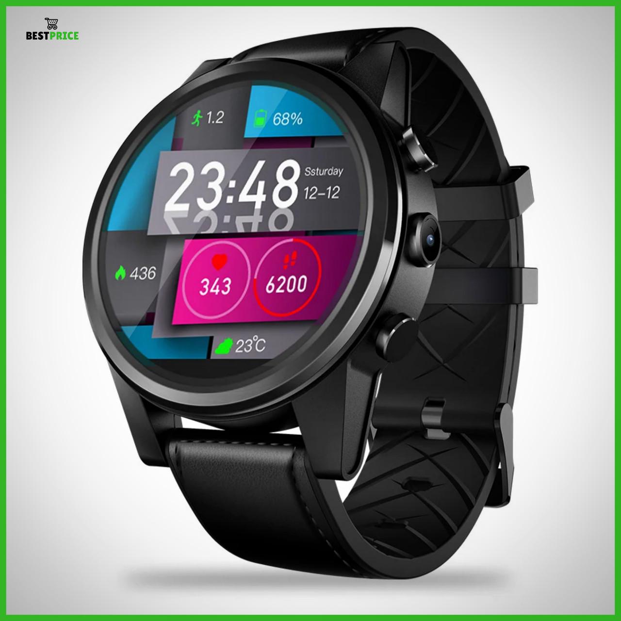 Умные смарт часы Zeblaze Thor 4 Pro с Android 7.1.1 и встроенным GPS (Черный)