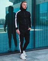 Спортивный костюм с лампасами Черный с белым. Из хлопка.