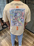 Мужская футболка оверсайз бежевая с принтом, фото 2