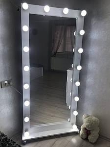 Напольное Зеркало с Лампочками во Весь Рост на Колесах 170х80 см
