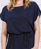 Летнее женское платье синее в белый горох, из штапеля, размеры с 44 по 56 ОПТ/ДРОПШИППИНГ(от производителя), фото 1